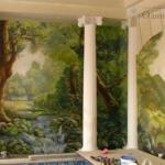 Роспись стен бассейна частного дома.