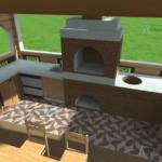 проект бани с террасой и барбекю